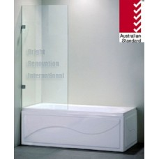 Frameless OverBath Shower Screen Fixed Panel 10mm Toughen Glass 700x1450