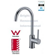 WELS Round Cylinder GooseNeck Tall Bathroom Basin Sink Flick Mixer Tap Faucet