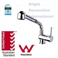 New Round Cylinder WELS Bathroom Basin Sink Pull Out Flick Mixer Tap Faucet