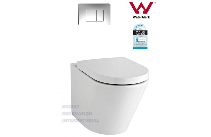 TORINA Round INWALL CISTERN Full Ceramic Wall Face Toilet Suite Soft Close Seat