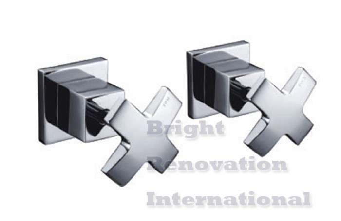WELS Bathroom Cooby Wide CROSS Brass Chrome Wall Top Tap Sets