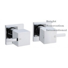 Bathroom Square Cooby Cube Brass Chrome 1/4 Turn Shower / Bath Wall Tap Set