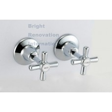 Bathroom WELS MOON Brass Chrome Wall Top Tap Set