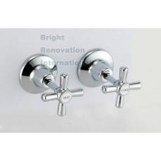 Bathroom WELS MOON Brass Chrome Wall Top Tap Set