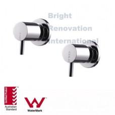 Bathroom WELS Round CYLINDER 1/4 Turn Brass Chrome Wall Top Tap Set