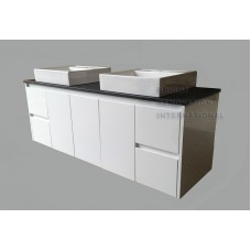 GLEN Bathroom White Cabinet Stone Top Double Above Counter Basin 1500MM