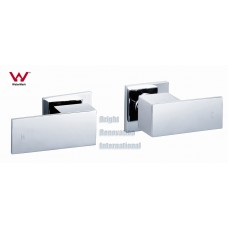 WELS Bathroom Square Cooby Wide Brass Chrome 1/4 Turn Shower / Bath Wall Tap Set